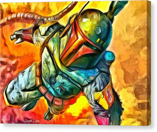 Jabba The Hutt Canvas Print - Boba Fett Flying - Da by Leonardo Digenio
