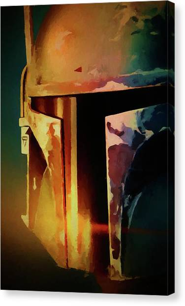 Jabba The Hutt Canvas Print - Boba Fett Helmet by Dan Sproul