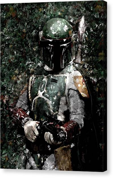 Boba Fett Canvas Print - Boba Fett Portrait Art Painting Signed Prints Available At Laartwork.com Coupon Code Kodak by Leon Jimenez