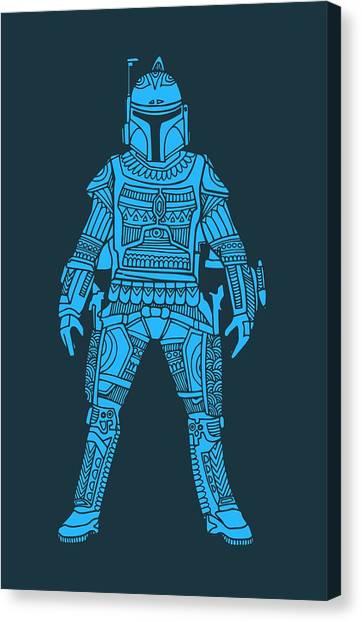 Stormtrooper Canvas Print - Boba Fett - Star Wars Art, Blue by Studio Grafiikka