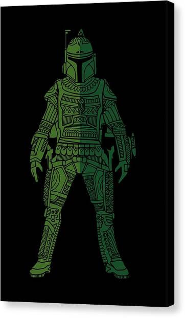Boba Fett Canvas Print - Boba Fett - Star Wars Art, Green 02 by Studio Grafiikka