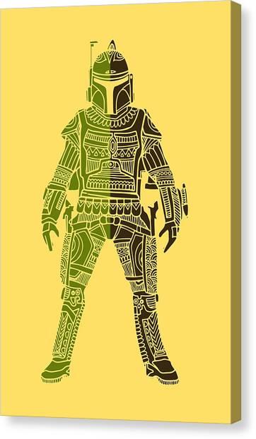 Boba Fett Canvas Print - Boba Fett - Star Wars Art, Green 03 by Studio Grafiikka