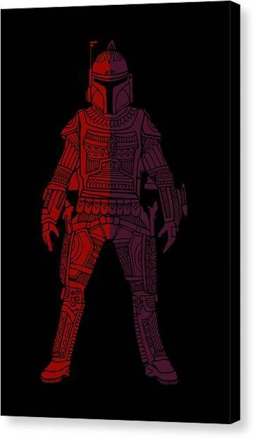 Boba Fett Canvas Print - Boba Fett - Star Wars Art, Red Violet by Studio Grafiikka