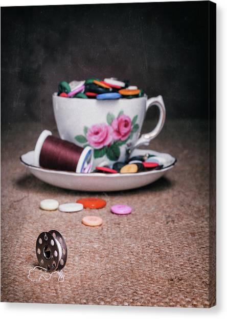 Saucer Canvas Print - Bobbin And Buttons by Tom Mc Nemar
