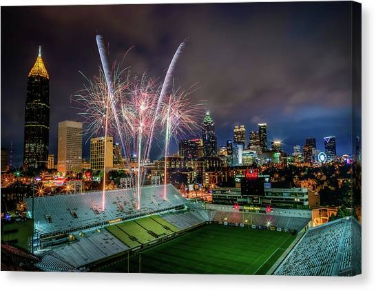 Georgia Institute Of Technology Georgia Tech Canvas Print - Bobby Dodd Fireworks by Gray Mitchell