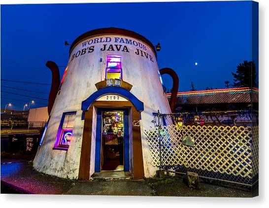 Bob's Java Jive - Historic Landmark During Blue Hour Canvas Print