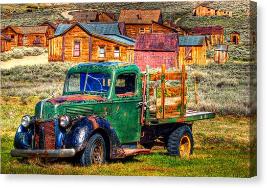 Bodie Ghost Town Green Truck Canvas Print