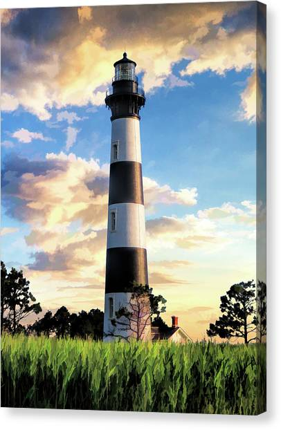 Canvas Print featuring the painting Bodie Island Lighthouse by Christopher Arndt