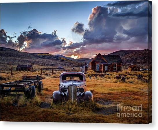 Coupe Canvas Print - Bodie's 1937 Chevy At Sunset by Jeff Sullivan