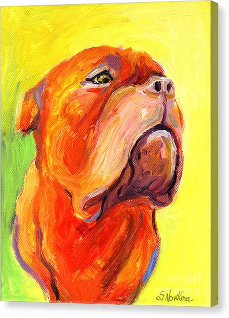 Mastiffs Canvas Print - Bodreaux Mastiff Dog Painting by Svetlana Novikova
