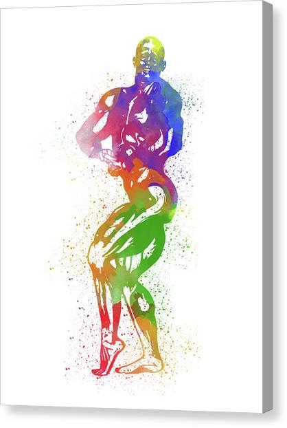Bodybuilder Watercolor 2 Canvas Print