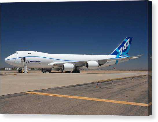 Boeing 747-8 N50217 At Phoenix-mesa Gateway Airport Canvas Print