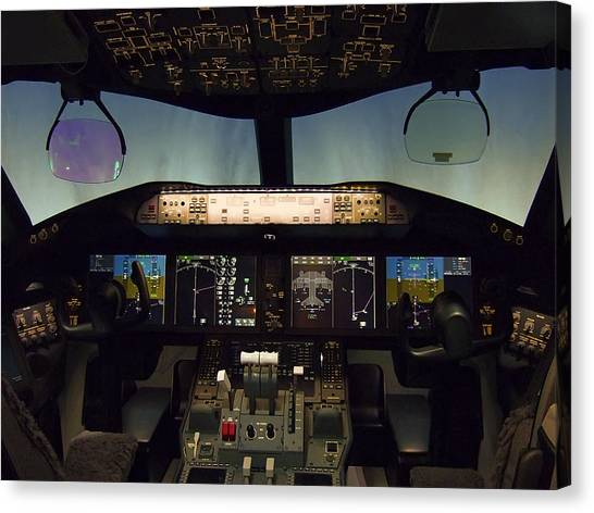 Cockpits Canvas Print - Boeing 787 Dreamliner Cockpit by Daniel Hagerman