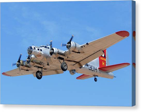 Boeing B-17g Flying Fortress N5017n Aluminum Overcast Landing Deer Valley Airport March 31 2011 Canvas Print