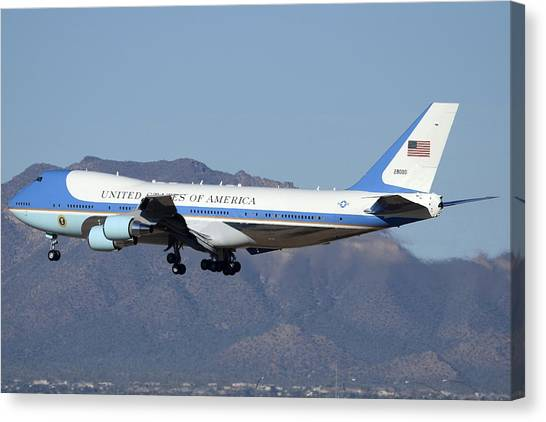 Boeing Vc-25a 82-8000 Air Force One Phoenix-mesa Gateway Airport January 25 2012 Canvas Print