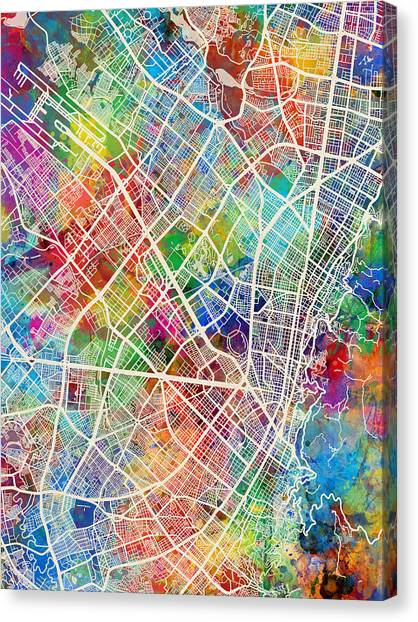 Colombian Canvas Print - Bogota Colombia City Map by Michael Tompsett