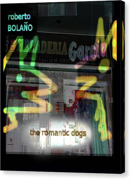 Imaginary Worlds Canvas Print - Bolano Romantic Dogs Poster  by Paul Sutcliffe
