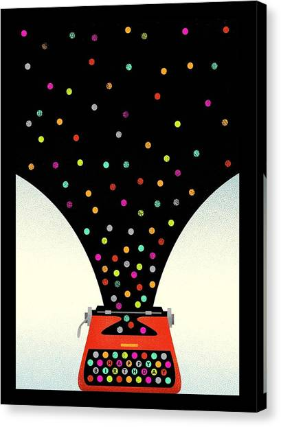 Hand Canvas Print - Bold And Graphic Vintage Typewriter by Gillham Studios