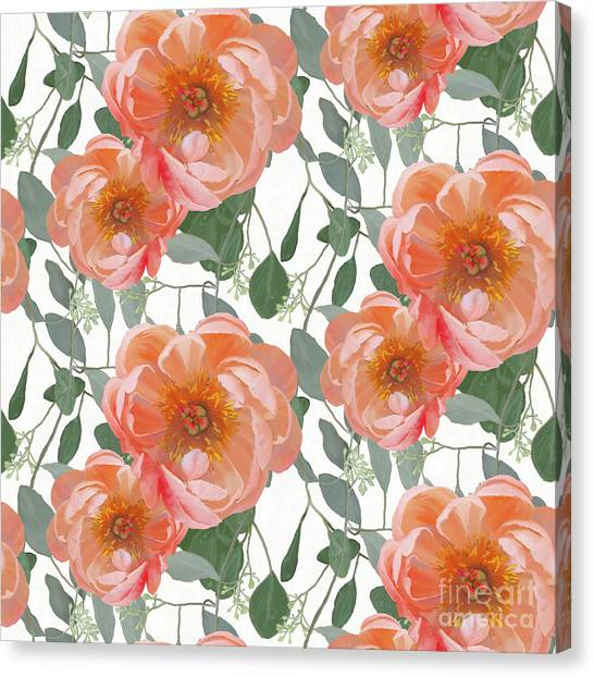 Elegant Canvas Print - Bold Peony Seeded Eucalyptus Leaves Repeat Pattern by Audrey Jeanne Roberts