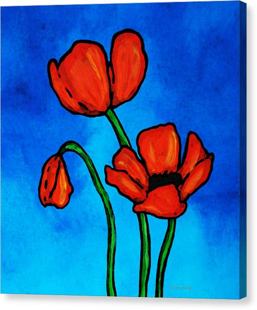 Big Sister Canvas Print - Bold Red Poppies - Colorful Flowers Art by Sharon Cummings