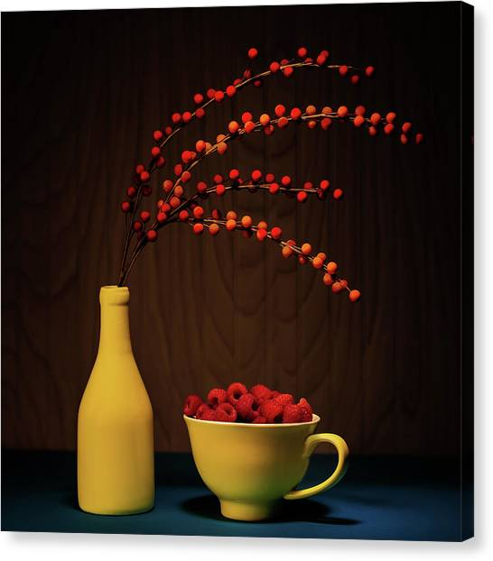 Raspberry Canvas Print - Bold Yellow With Raspberries by Tom Mc Nemar