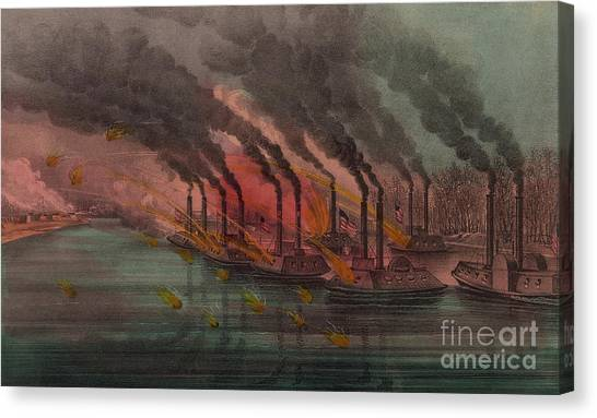 Currier And Ives Canvas Print - Bombardment And Capture Of Fort Henry, Tennessee by Currier and Ives