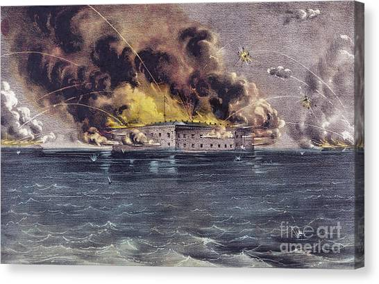 Fire Ball Canvas Print - Bombardment Of Fort Sumter, Charleston Harbor, Signaled The Start Of The American Civil War by American School