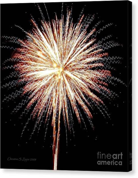 Bombs Bursting In Air Canvas Print by Christine S Zipps