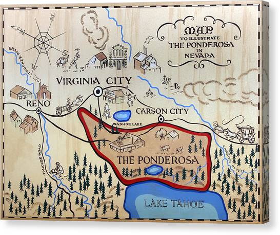Bonanza Series Ponderosa Map  1959 Canvas Print