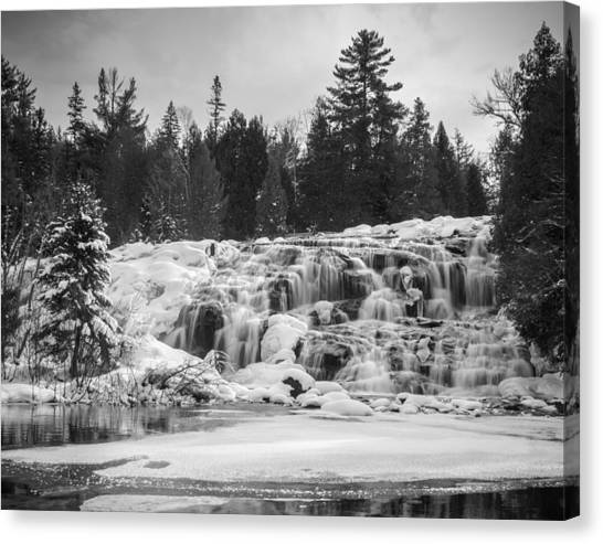 Bond Falls In Black And White Canvas Print