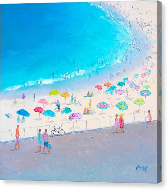 People Walking On Beach Canvas Print - Bondi Beach In January by Jan Matson