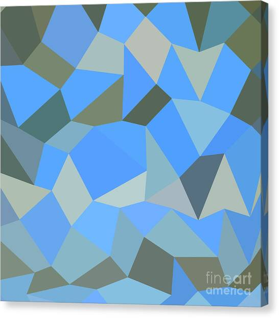 Bondi Blue Abstract Low Polygon Background Canvas Print by Aloysius Patrimonio