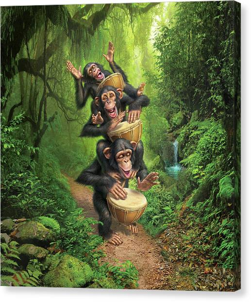 Percussion Instruments Canvas Print - Bongo In The Jungle by Mark Fredrickson