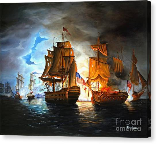 Night Canvas Print - Bonhomme Richard Engaging The Serapis In Battle by Paul Walsh