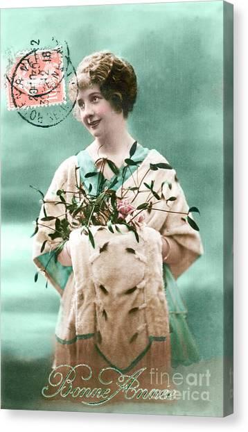 Restoration Canvas Print - Bonne Annee Vintage Woman by Delphimages Photo Creations