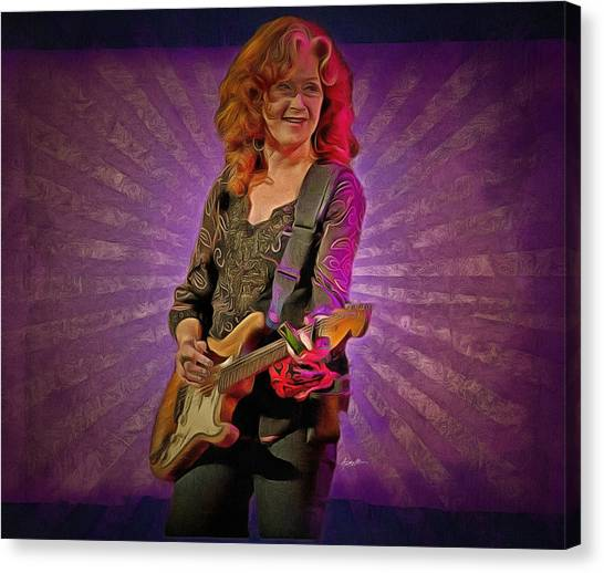 Slide Guitars Canvas Print - Bonnie Raitt by Anthony Caruso