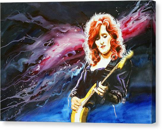 Slide Guitars Canvas Print - Bonnie Raitt by Ken Meyer