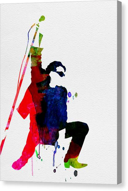 Rock Music Canvas Print - Bono Watercolor by Naxart Studio