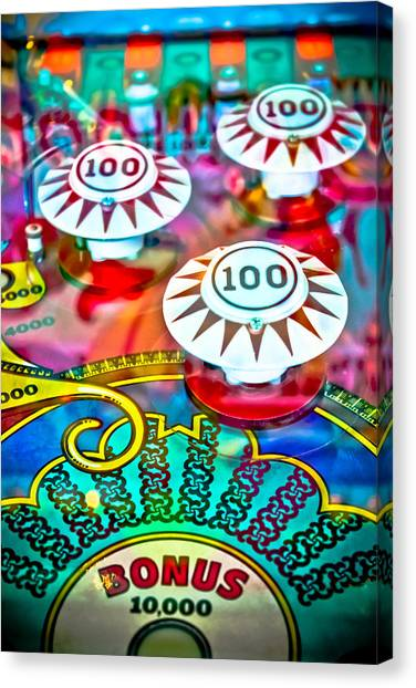 Fast Ball Canvas Print - Bonus Points - Pinball by Colleen Kammerer