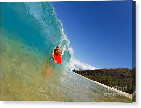 Bodyboard Canvas Print - Boogie Boarding At Makena by MakenaStockMedia - Printscapes