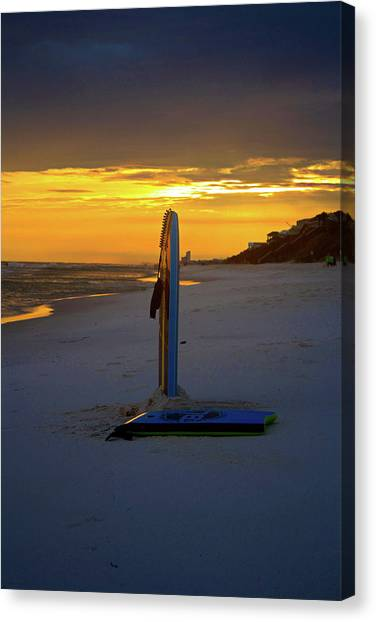 Bodyboard Canvas Print - Boogie Boards At Sunset by Selena Wagner