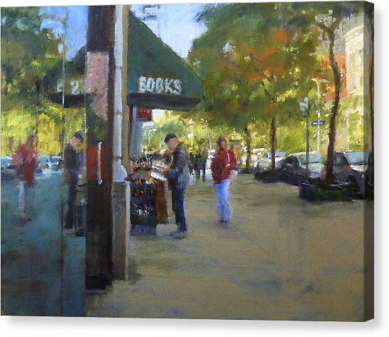 Book Browsing On Broadway Canvas Print
