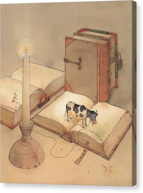 Bookish Cow Canvas Print by Kestutis Kasparavicius