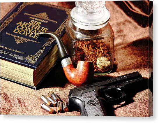 Canvas Print featuring the photograph Books And Bullets by Barry Jones