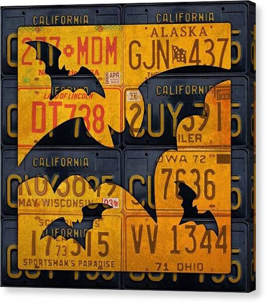 Bat Canvas Print - #boo  @fineartamerica #licenseplates by Design Turnpike