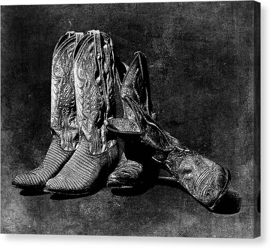 Boot Friends - Art Bw Canvas Print
