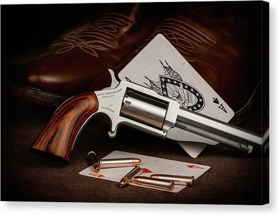 Cowboy Boots Canvas Print - Boot Gun Still Life by Tom Mc Nemar