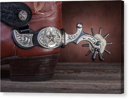 Spurs Canvas Print - Boot Heel With Texas Spur by Tom Mc Nemar