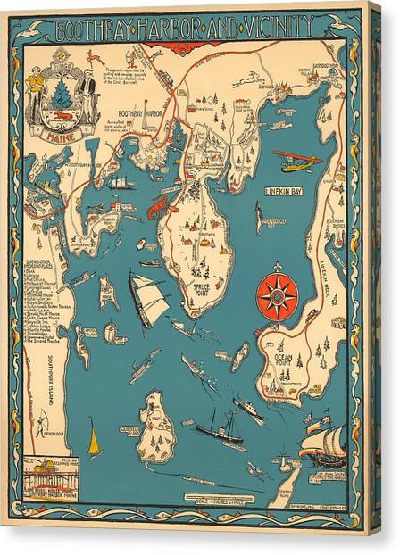 Boothbay Harbor And Vicinity - Vintage Illustrated Map - Pictorial - Cartography Canvas Print