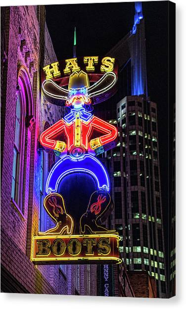 Boots And Hat Neon Sign Canvas Print